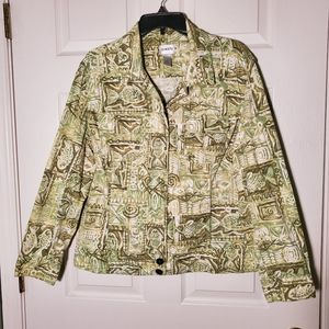 Chico's Green Print Cotton Jacket Jean Style